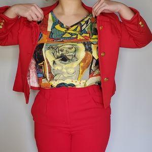Red Gold Button Blazer Jacket